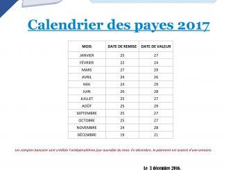 Calendrier des payes 2017 - UISP Rhône-Alpes-Auvergne