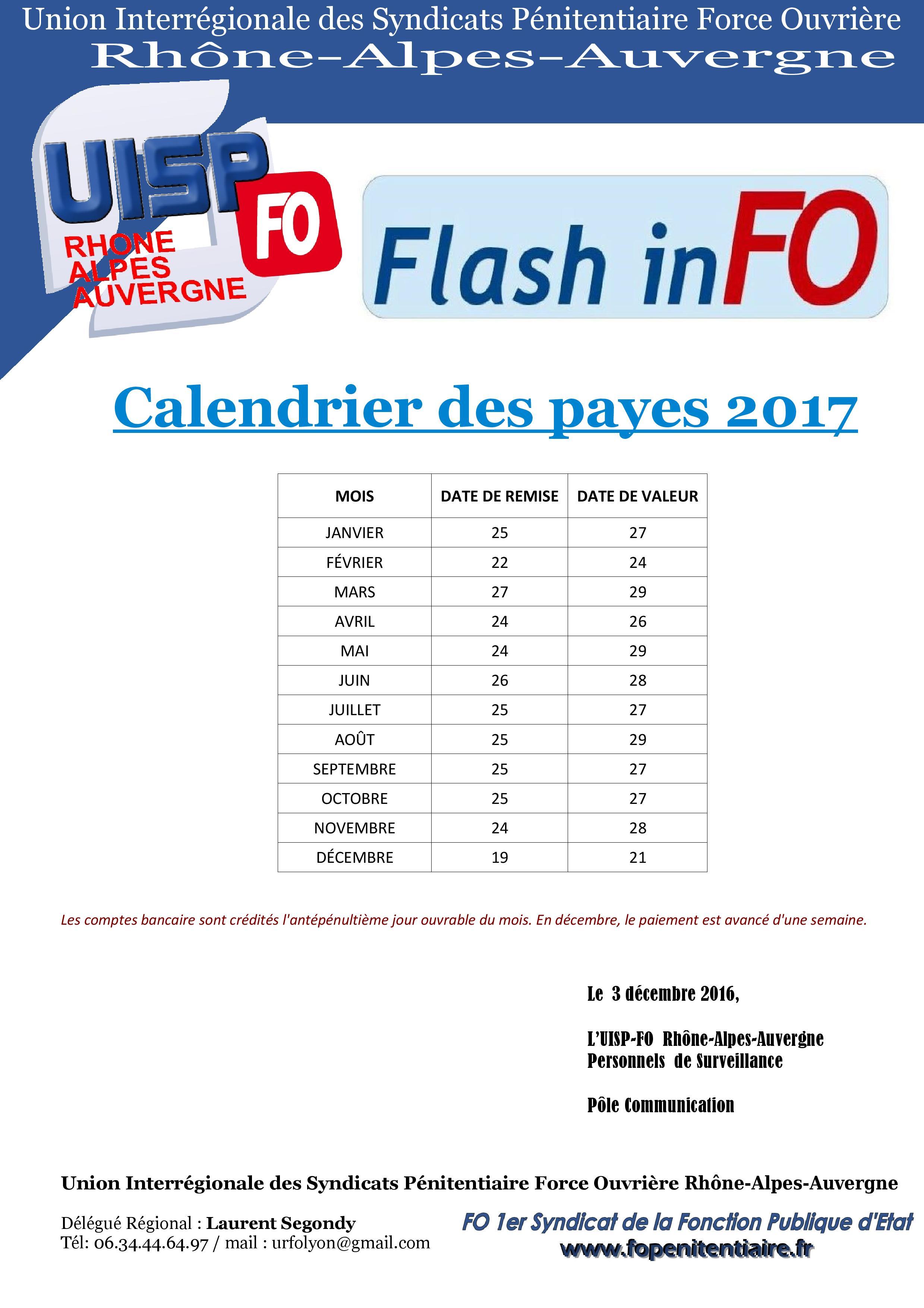 Calendrier des payes 2017 – FO Pénitentiaire – UISP Rhône Alpes