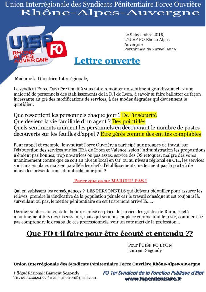 lettre ouverte Directrice interrégionale