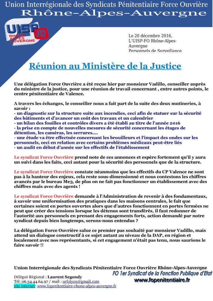 réunion au ministère de la justice
